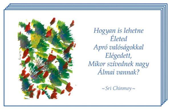 Színes kártyák Sri Chinmoy aforizmáival és Jharna Kala képeivel